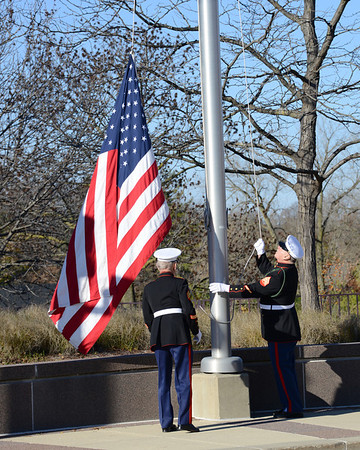 United States Flag and Marine Corps Flag raising at City Hall in Naperville, Illinois on November 10, 2013