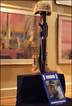 A fallen Soldier display for Sgt. DeForest Talbert was unveiled during a Veterans Day program at Alexandria's Black History Museum.