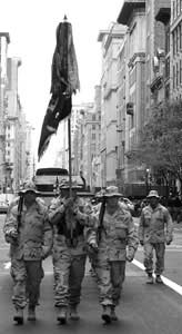 Thirty Soldiers from 2nd Bn., 14th Inf. Rgt., march down Fifth Avenue during the New York City Veterans Day parade.