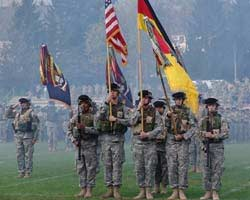 A tribute to fallen comrades in commemoration of Veterans Day and a cannon salute in honor of 18 2nd BCT Soldiers who died while serving in the brigade's first deployment in support of Operation Iraqi Freedom.