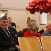 From left, Barry Sobol of Everett, and Bella and husband David Westerman of Malden, all with the Jewish War Veterans, at Valentines Day 2017 Salute to Our Veterans Program at Bedford VA hospital. They came to help distribute cards, balloons and chocolate to patients at the hospital. (SUN/Julia Malakie)