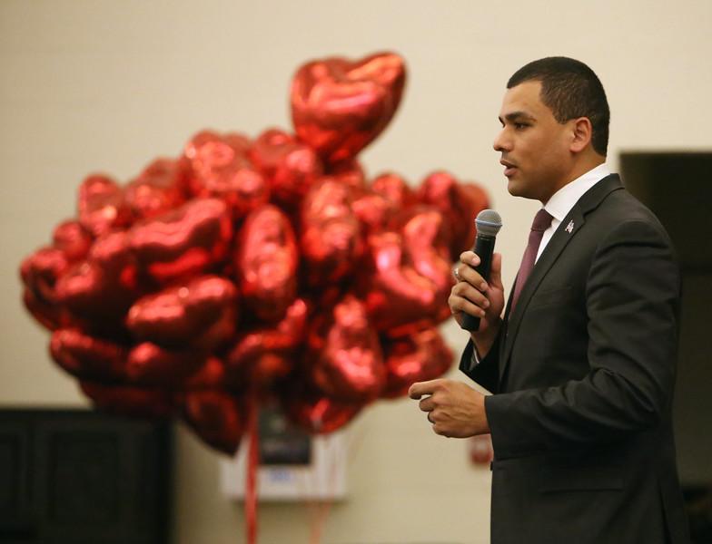 Massachusetts Secretary of Veterans Services Francisco Urena speaks at the Valentines Day 2017 Salute to Our Veterans Program at Bedford VA hospital.(SUN/Julia Malakie)