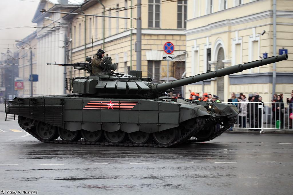 Модернизированный Т-72Б3 с дополнительной защитой, также обозначается как Т-72Б3 образца 2016 г. (Modernized T-72B3 with additional armor, also referred to as T-72B3 mod. 2016)