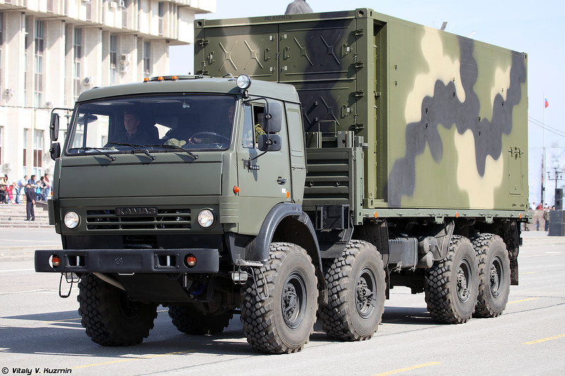 Элемент АСУ ПВО Фундамент в контейнере на шасси КАМАЗ-6350 (Vehicle from Air defence Control System Fundament on KAMAZ-6350 platform)