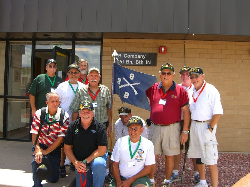 Fort Carson CO 26 Jul 2012<br /> Front row left to right<br /> George Hosso, Steve Wittenberg, Roy Pline I think.<br /> 2nd row L-R<br /> Art Cuellar, Ron Wulff, under flag Peter Weeks, John Starkey, J Phillip Smith (Smitty).<br /> Back row L-R<br /> Fred Campogni, Richard Bolin , James Kelly (behind Starkey and Smitty)<br /> - from Ron Wulff