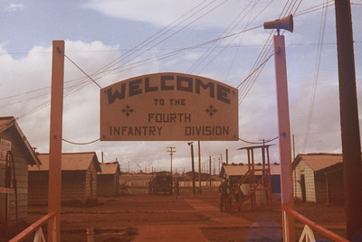 4th Admin Co Welcome Sign Camp Enari, RVN July 1969.