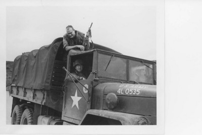 Major John R Hill Jr and LTC John R Brinkerhoff usually going some place without their jeeps.