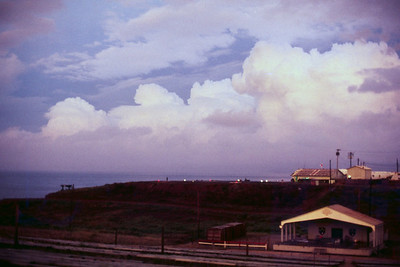 Sunset at the Chu Lai Amphitheatre, May 1971. The 91st Evacuation Hospital is at the top of the hill.