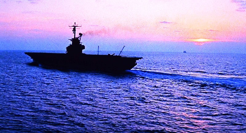 USS Yorktown Sails into the Sunset in 1942