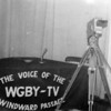 Up until about 1965, the radio and television station was in an old building adjacent to the Marine bakery.   I guess everyone was next door getting doughnuts when this shot was taken.  The Dage camera on the wooden tripod pedestal was a piece of industrial equipment.  I think most cell phones today capture better video -- and, of course, in color!
