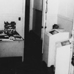 This is the newsroom in the old broadcasting building.  The radios in the rack at right received shortwave broadcast from AFRTS and radio-teletype news that originated with Associated Press  ...