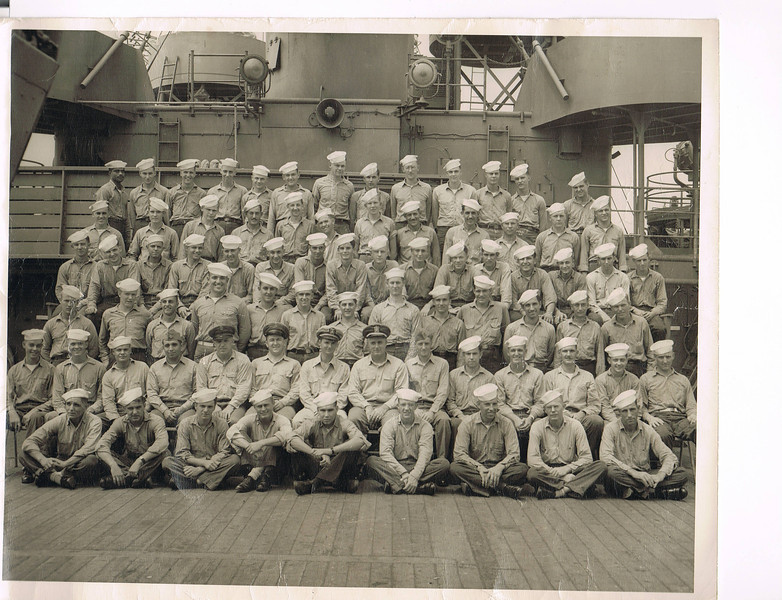 Photos provided by the family of William Edward Patterson Jr., FN1 USN<br /> <br /> USS VULCAN AR-5 – 1944 Crew List - Engineering/Hull Division<br /> <br /> Row 1 – Muniz; Okinsky; Schultz; Sandstoe; Tipp; Pulli; Howe; Mayo; Fuller<br /> <br /> Row 2 – Perry; Johnson; Baker; Cappucino; Hank; Burns; Baxter; Barricman; Johnson; Marshall; Miller; Briggs; May; Pfuehler<br /> <br /> Row 3 – Taylor; Marcum; Trapani; Macri; Hails; Pafford; Petrucci; Sims; Summerlot; Stahl; Chapa; Pfiel; Greene<br /> <br /> Row 4 – Smith; Martin; Temple; Rivers; La Fleche; Schiavone; Ritz; WILLIAM EDWARD PATTERSON Jr., FN1; Ostberg; Forum; Osbam; Camana; Harrison; Marshall; Sharber<br /> <br /> Row 5 – Carr; Craft; Trojanowski; Klima; James; Adams; Fleming; Wright; Romo; Lebold; Oveson; Buckner<br /> <br /> Row 6 – Jones; Thomas; Andrews; Lindstom; O'Quinn; Kapec; Murphy; Hendrickson; Arno; Moats; Leininger; Chell; Williams<br /> <br /> <br /> VULCAN remained based on the North African coast into the summer of 1944. In August and September, the repair ship supported the invasion of southern France and received her sole battle star for providing repair services to the ships and craft involved in the operation.<br /> <br /> By late 1944, VULCAN was urgently required in the Pacific, and she accordingly departed the Mediterranean on 23 November 1944 in Convoy GUS-59. After voyage repairs at Norfolk which lasted into January 1945, the repair ship sailed for the South Pacific. Arriving at Guadalcanal on 9 February 1945, VULCAN operated successively out of Tulagi, Noumea and Ulithi for the remainder of the war. From Ulithl, VULCAN serviced the amphibious units which participated in the assault on the key island of Okinawa.<br /> <br /> After hostilities with Japan ceased, VULCAN shifted to Okinawa and entered Buckner Bay in the wake of a destructive typhoon which had forced some ships aground and had severely damaged others. Repair work was well in hand by late September, when another typhoon threatened the anchorage. VULCAN led 17 merchantmen to sea in a typhoon evasion sortie, a mission successfully accomplished without loss or damage by 28 September.<br /> <br /> VULCAN sailed for Japan immediately thereafter to support the occupation of the enemy's home islands. Leading a group of service force ships and oilers through dangerous, still-mined waters, VULCAN arrived in Hiro Wan, near Kure, Japan, on 8 October. Here, the repair ship established an advance service unit to provide food, oil, and water to the ships of the occupation force based there. She also set up mail, medical, and recreational facilities ashore. In addition she performed maintenance tasks on the diesel-powered vessels of the mine forces then clearing the waters around the Japanese home islands.<br /> <br /> VULCAN also operated out of Kobe and Yokosuka into the new year. Departing Yokosuka on 9 March 1946, the repair ship sailed for the east coast of the United States, calling at Pearl Harbor and transiting the Panama Canal en route. She arrived at Brooklyn, N.Y., on 15 April 1946. VULCAN operated at Newport RI., until February 1954, when she shifted to Norfolk.