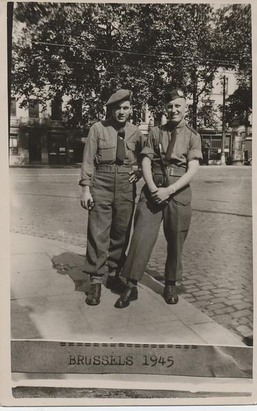 Howard Lantz and another solder in uniform in Brussels September 1945