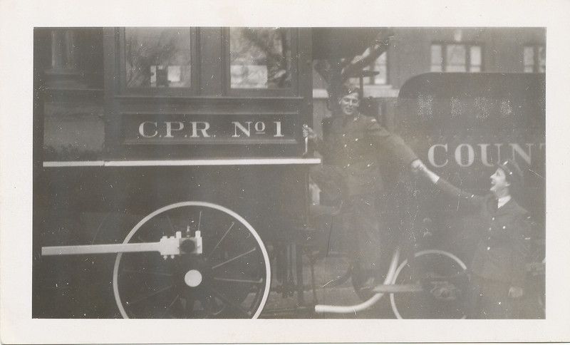 My father seemingly pulling another soldier onto CPR No. 1 in Winnipeg.