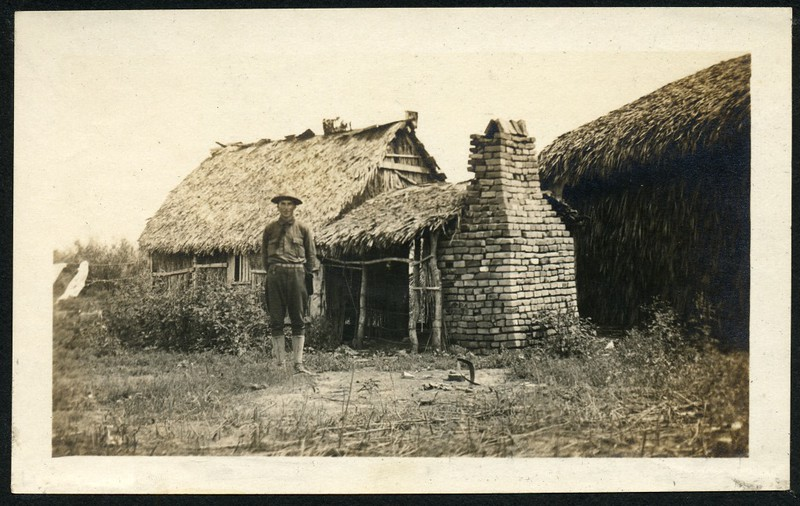 Lynchburg Home Guard Soldier in Front of Hut (06269)