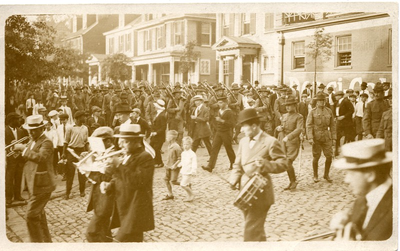 WW I Soldiers Marching with a Civilian Band (03266)
