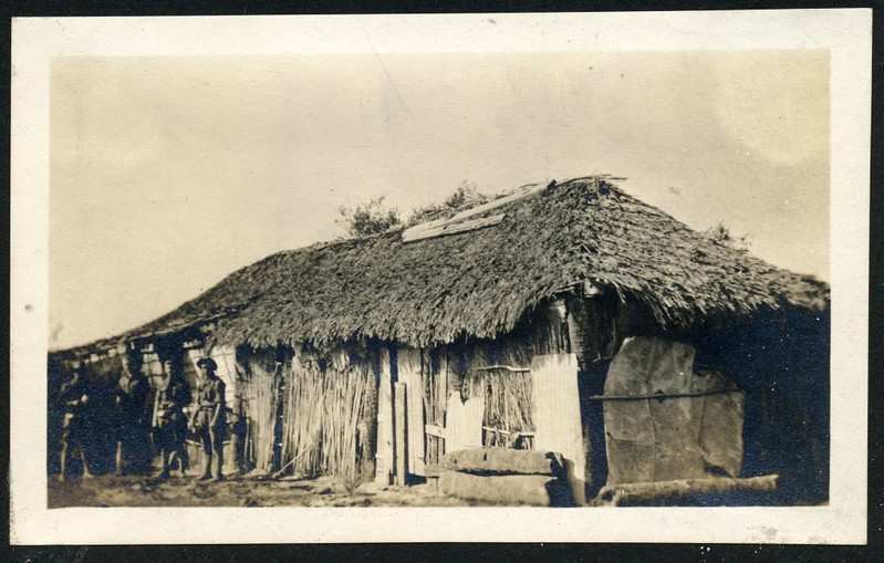 Lynchburg Home Guard in front of a Large Hut (06267)