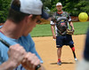 Wounded Warrior Amputee Softball Team pitcher delivers to a member of the Telford Fire Company during their game at Franconia Park  on Saturday May 24,2014. Photo by Mark C Psoras/The Reporter