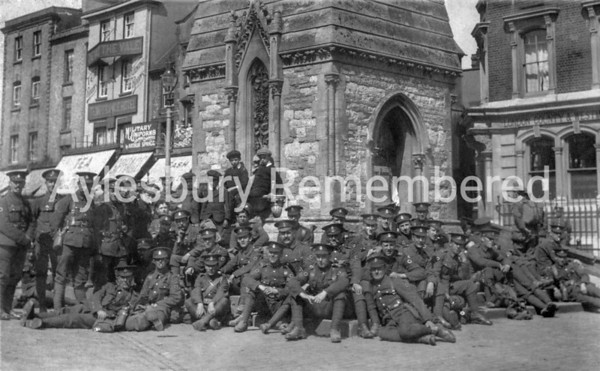 Medical Corps resting by Clock Tower in Market Square, April 1916