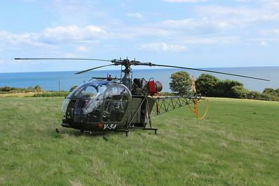 V-54 / G-BVSD Aerospatiale SE3130 Alouette II @ Smugglers Inn, Dawlish 22.08.14