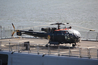 M-1 (c/n 1812) Aérospatiale SA-136B Alouette III on the flight deck of BNS Louise Marie 24.04.12