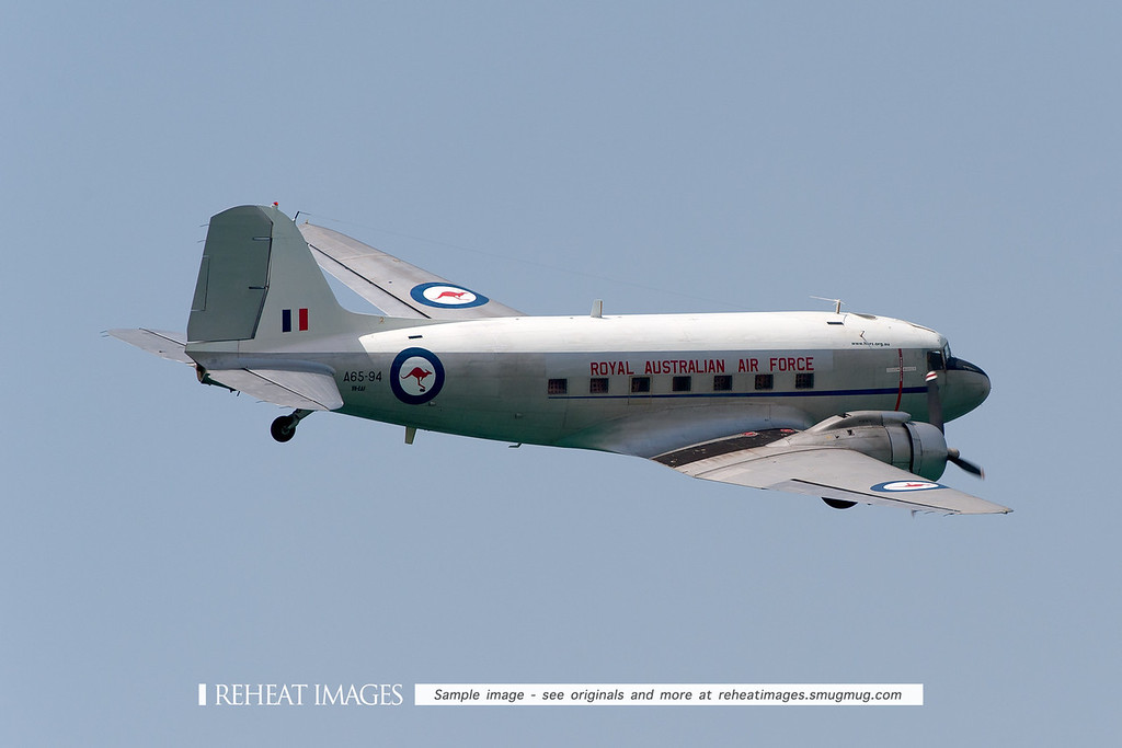 This former RAAF Douglas C-47 Dakota is now operated by the Historic Aircraft Restoration Society (HARS) at Albion Park, NSW. The museum has a remarkable inventory of classic airplanes - many of them are also operational. It is seen here at the Defence Force Airshow Townsville, flying above The Strand.