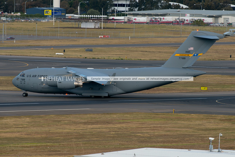 Boeing C17 Globemaster III from Charleston arrives in Sydney