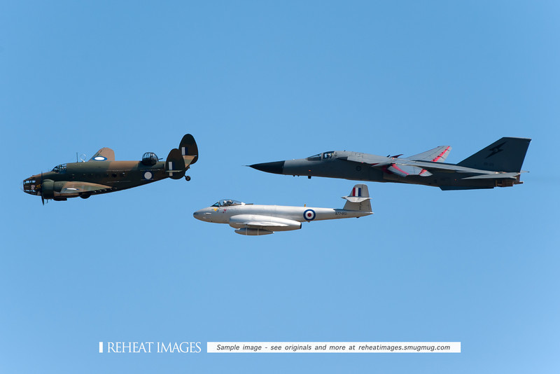 Formation flight of General Dynamics F-111C Aardvark, Gloster Meteor and Lockheed Hudson