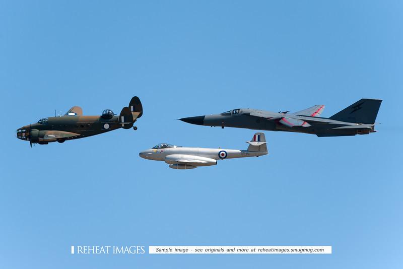 Formation flight of General Dynamics F-111C Aardvark, Gloster Meteor and Lockheed Hudson