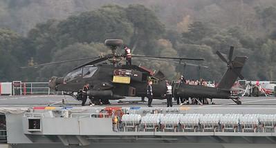 ZJ196 Boeing WAH-64D Apache AH1 - On the flight deck of HMS Ocean 07.04.15