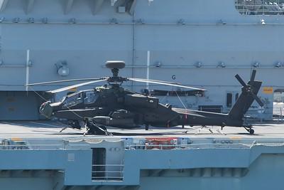 ZJ220 Boeing WAH-64D Apache AH1 - On the flight deck of HMS Ocean 27.05.15