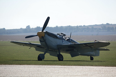 Yellow 10 Hispano HA-1112 M1L Buchon G-BWUE @ Duxford 08.09.12