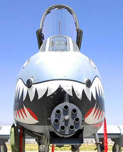 The view from the front of an A-10 Thunderbolts as it sits ousite its hangar at Bagram Airfield