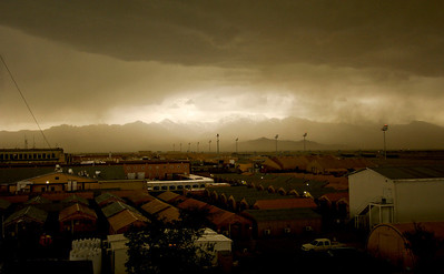 A storm rolls into Bagram Air Field, Afghanistan, April 20.  The 455th Expeditionary Operations Support Squadron, combat weather team, uses a variety of techniques to predict weather. They use of a Mark IV satellite and visual reference to determine type and severity of storm to better prepare personnel on BAF to maintain mission effectiveness. Rainstorms are frequent this time of year and have the ability to change the landscape to include rivers and streams. With the lack of drainage systems, floods occur regularly throughout the southeast region of Afghanistan. Precipitation in east and southeast regions is about forty centimeters per year.