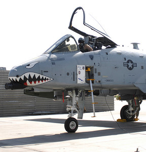 A-10 Thunderbolts sits outside its hangar at Bagram Airfield