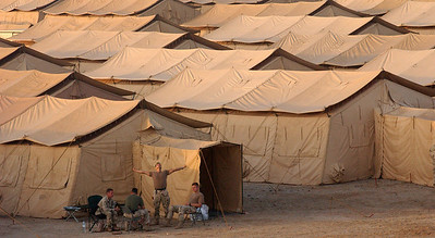 Tents house thousands of military people who have deployed to this undisclosed location in support of Operation Enduring Freedom.