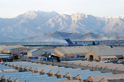 A view of Bagram Airfield, Afghanistan from the Air Traffic Control Tower's catwalk after a recent rainstorm.