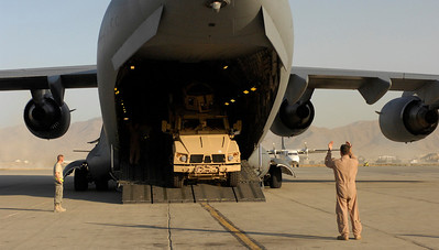 C-17 Globemaster III drops off cargo at Bagram Airfield