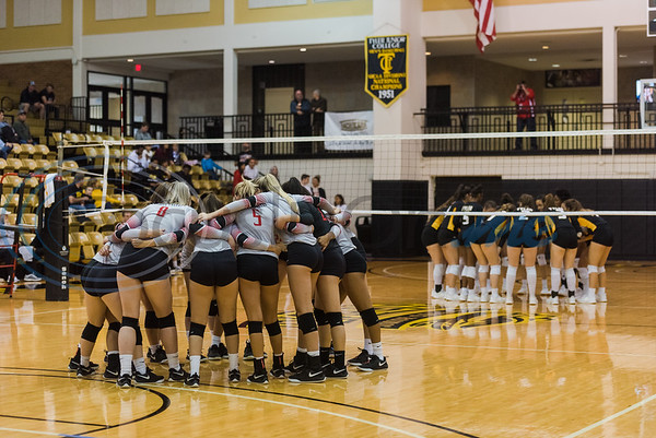 Trinity Valley Community College (left) and Tyler Junior College teams huddle up before a match Friday, Nov. 1, 2019, at Wagstaff Gym in Tyler. (Cara Campbell/Tyler Morning Telegraph)