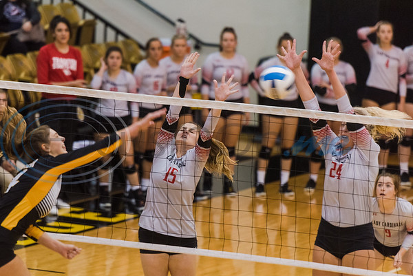 Trinity Valley Community College's Cauane Krainski (15) and Lauren Castles (24) attempt to block a hit delivered by Tyler Junior College's Audrey Gun (4) during game action Friday, Nov. 1, 2019, at Wagstaff Gym in Tyler. (Cara Campbell/Tyler Morning Telegraph)