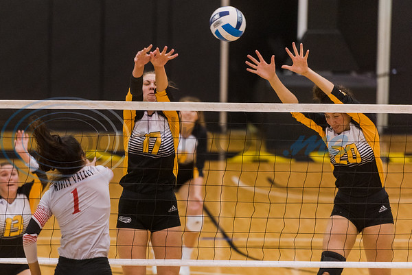 Tyler Junior College's Natali Petrova (17) and Madison Frusha (20) attempt to block a hit delivered by Trinity Valley Community College's Maria Ramos (1) during game action Friday, Nov. 1, 2019, at Wagstaff Gym in Tyler. (Cara Campbell/Tyler Morning Telegraph)