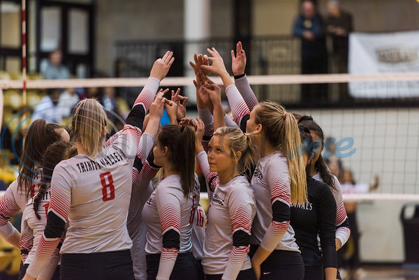 Trinity Valley Community College players huddle up before a match against Tyler Junior College Friday, Nov. 1, 2019, at Wagstaff Gym in Tyler. (Cara Campbell/Tyler Morning Telegraph)