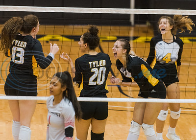 Tyler Junior College players celebrate following a play during game action against Trinity Valley Community College Friday, Nov. 1, 2019, at Wagstaff Gym in Tyler. (Cara Campbell/Tyler Morning Telegraph)