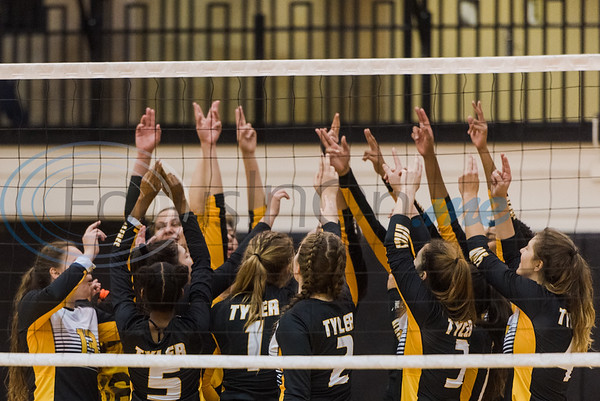 Tyler Junior College players huddle up before a match against Trinity Valley Community College Friday, Nov. 1, 2019, at Wagstaff Gym in Tyler. (Cara Campbell/Tyler Morning Telegraph)