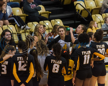 Brandi Hood, Tyler Junior College head volleyball coach, huddles with her team in a timeout during game action against Trinity Valley Community College Friday, Nov. 1, 2019, at Wagstaff Gym in Tyler. (Cara Campbell/Tyler Morning Telegraph)