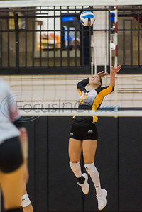 Tyler Junior College's Natali Petrova (17) serves the ball during a match against Trinity Valley Community College Friday, Nov. 1, 2019, at Wagstaff Gym in Tyler. (Cara Campbell/Tyler Morning Telegraph)