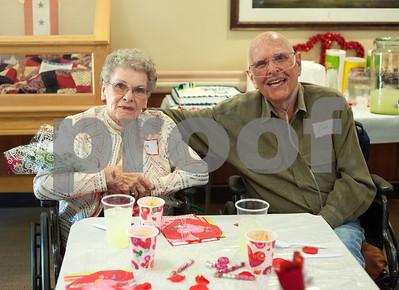 Neighbors Leola Shamburger and Dan Hudson dine together at the Watkins-Logan Texas State Veterans Home Sweetheart Luncheon Friday Feb. 12, 2016.   (Sarah A. Miller/Tyler Morning Telegraph)