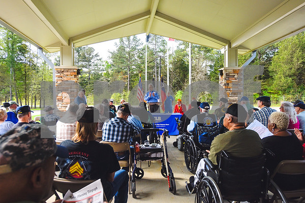 Mark Stevenson speaks to veterans and their families during a ceremony honoring Vietnam veterans at Watkins-Logan Texas State Veterans Home in Tyler, Texas, on Friday, March 24, 2017. Dozens of Vietnam veterans received special commemorative pins honoring their service. (Chelsea Purgahn/Tyler Morning Telegraph)