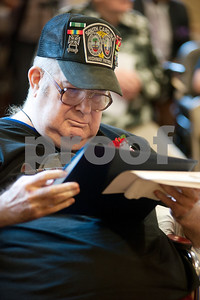 photo by Sarah A. Miller/Tyler Morning Telegraph  Vietnam Era United States Navy Veteran Dean Mullican is recognized for his service Friday during a ceremony at the Watkins-Logan Texas State Veterans Home in Tyler where he is a resident.