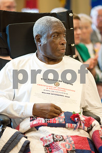 photo by Sarah A. Miller/Tyler Morning Telegraph  Vietnam Era United States Air Force Veteran William Arterberry is recognized for his service Friday during a ceremony at the Watkins-Logan Texas State Veterans Home in Tyler where he is a resident.